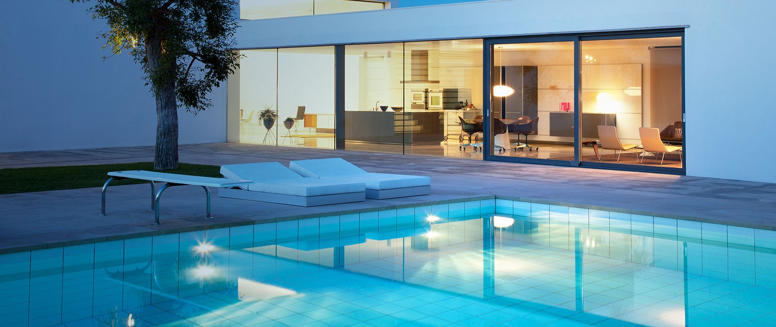 Modern house with clean water pool